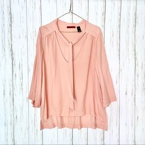 BKE Buckle Neck Tie Blush Hi-Lo Blouse Shirt